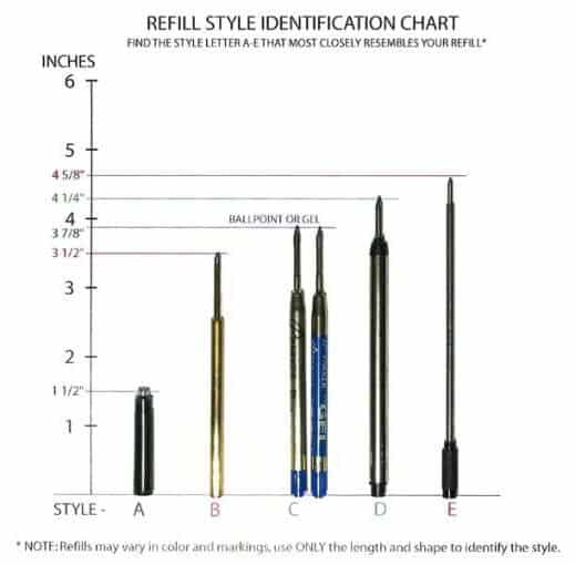 pen refill sizes